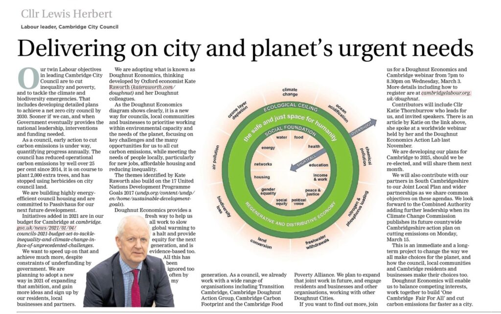 An article from the Cambridge Independent about doughnut economics